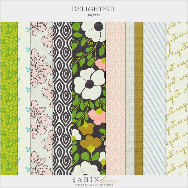 Delightful Digital Scrapbook Papers by Sahin Designs. Click to download the kit. Pin & save for later!