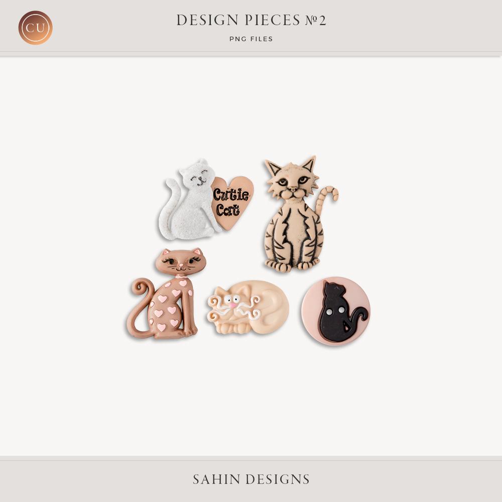 Design Pieces No.2 Smitten Kitten by Sahin Designs - Commercial Use Digital Scrapbook Supplies