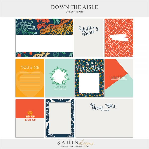 Down The Aisle Digital Scrapbook Pocket Cards by Sahin Designs. Click to download the kit. Pin & save for later!