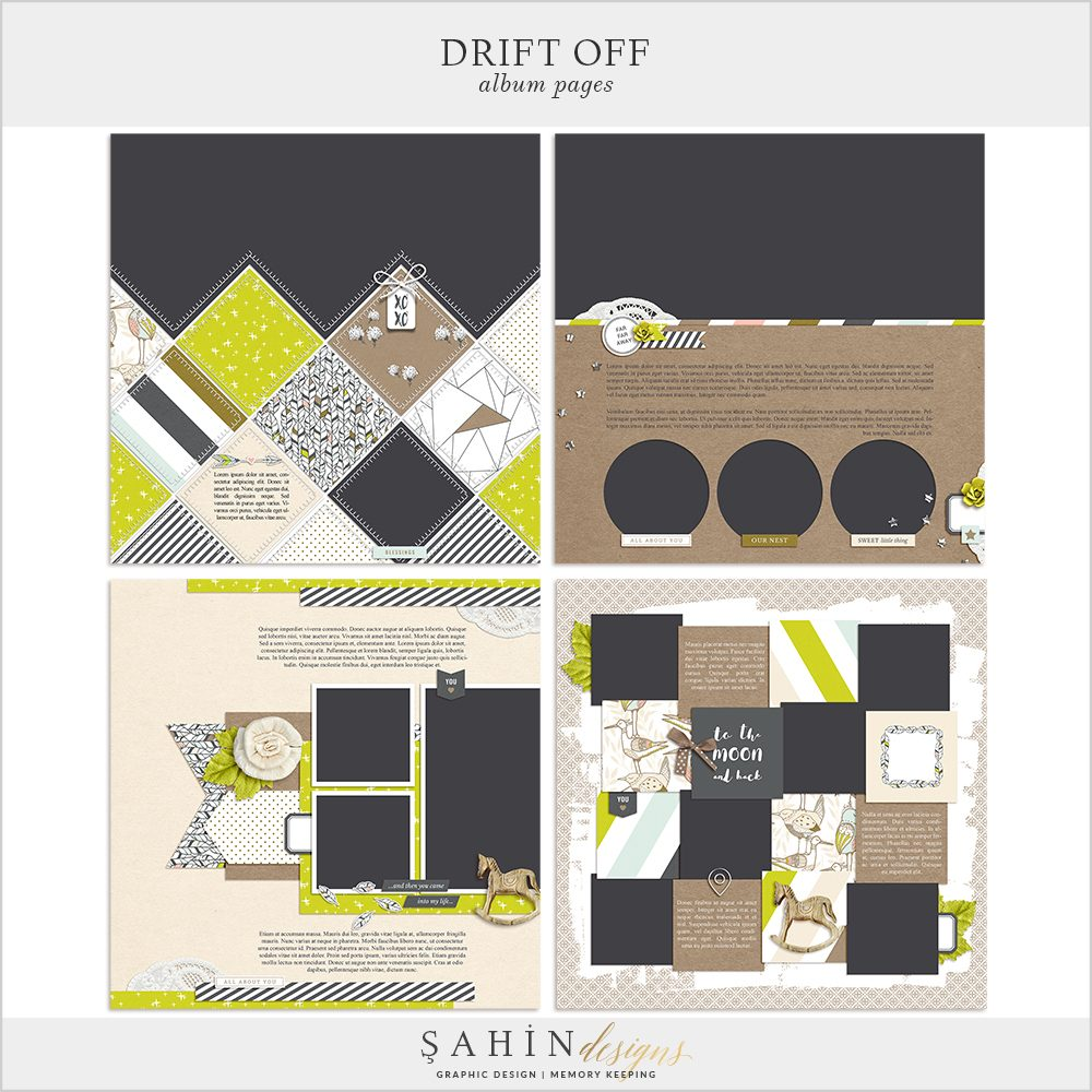 Drift Off Digital Scrapbook Album Pages by Sahin Designs. Click to download the kit. Pin & save for later!