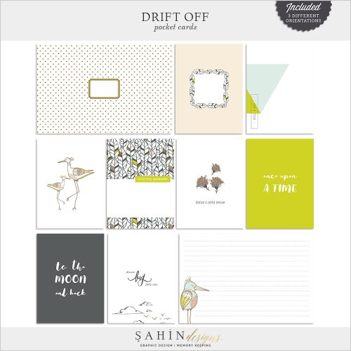 Drift Off Digital Scrapbook Pocket Cards by Sahin Designs. Click to download the kit. Pin & save for later!