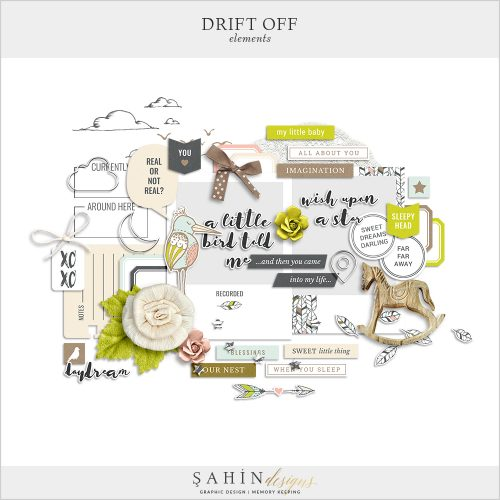 Drift Off Digital Scrapbook Elements by Sahin Designs. Click to download the kit. Pin & save for later!