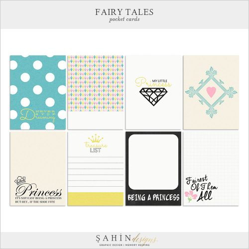 Fairy Tales Digital Scrapbook Pocket Cards by Sahin Designs. Click to download the kit. Pin & save for later!