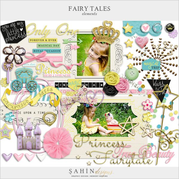 Fairy Tales Digital Scrapbook Elements by Sahin Designs. Click to download the kit. Pin & save for later!