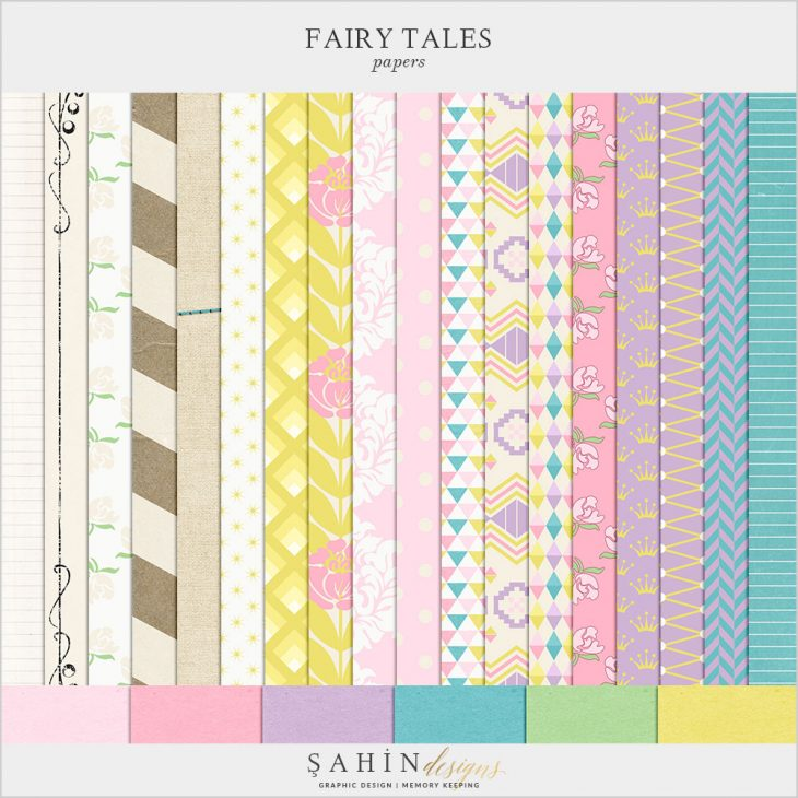Fairy Tales Digital Scrapbook Papers by Sahin Designs. Click to download the kit. Pin & save for later!