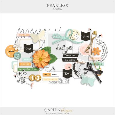 Fearless Digital Scrapbook Elements by Sahin Designs. Click to download the kit. Pin & save for later!