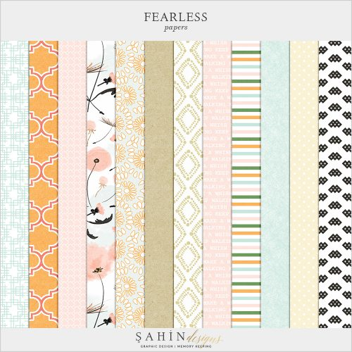 Fearless Digital Scrapbook Papers by Sahin Designs. Click to download the kit. Pin & save for later!