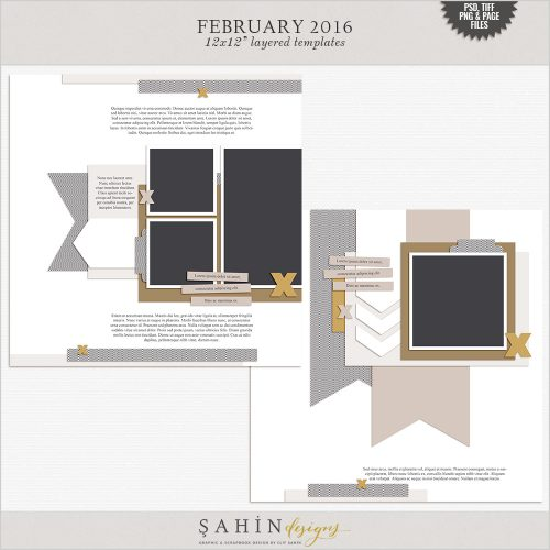 February 2016 Digital Scrapbook Layout Templates/Sketches by Sahin Designs. Click to download the kit. Pin & save for later!