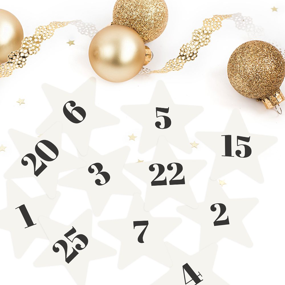 Printable Festive Star Advent Calendar Numbers by Sahin Designs. Click to download the kit. Pin & save for later!
