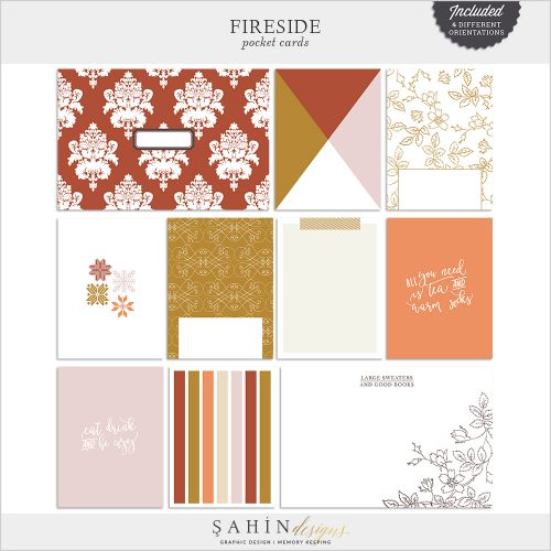 Fireside Digital Scrapbook Pocket Cards by Sahin Designs. Click to download the kit. Pin & save for later!