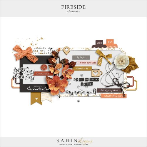 Fireside Digital Scrapbook Elements by Sahin Designs. Click to download the kit. Pin & save for later!