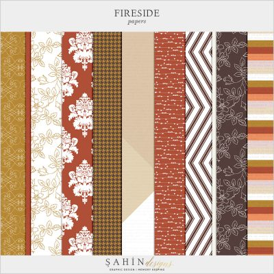 Fireside Digital Scrapbook Papers by Sahin Designs. Click to download the kit. Pin & save for later!