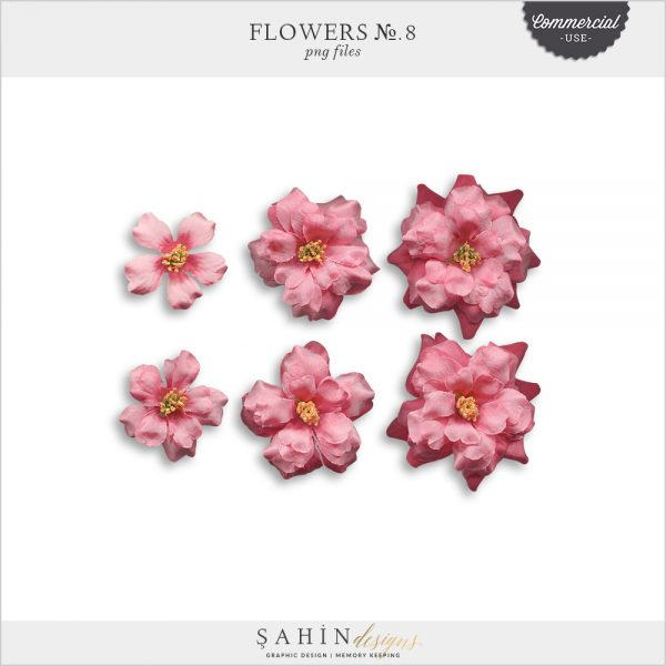 Flowers No.8 by Sahin Designs. Commercial Use Digital Scrapbook Supplies. Click to download the kit. Pin & save for later!