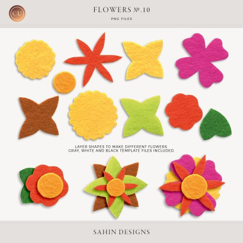 Flowers No.10 by Sahin Designs. Commercial Use Digital Scrapbook Supplies. Click to download the kit. Pin & save for later!