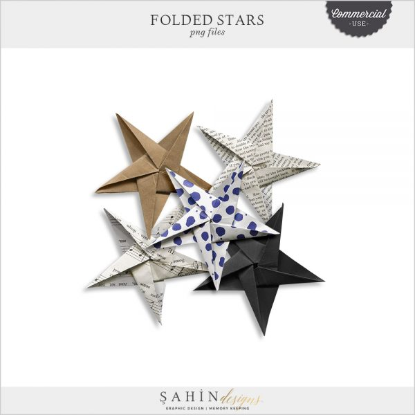 Folded Stars by Sahin Designs. Commercial Use Digital Scrapbook Supplies. Click to download the kit. Pin & save for later!