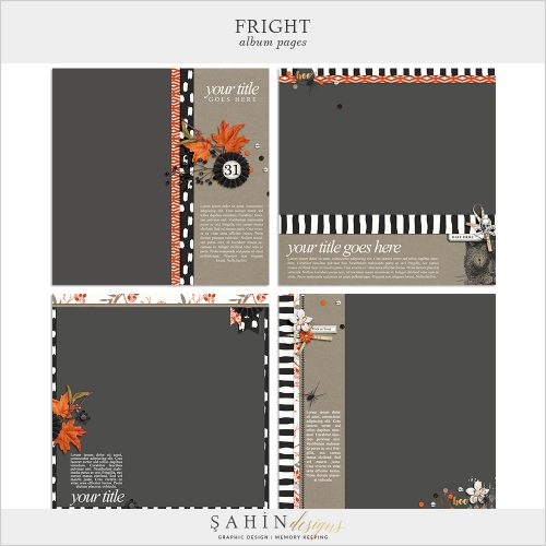 Fright Digital Scrapbook Album Pages by Sahin Designs.