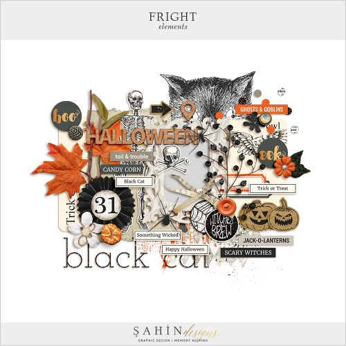 Fright Digital Scrapbook Elements by Sahin Designs.