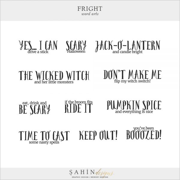 Fright Digital Scrapbook Word Arts by Sahin Designs