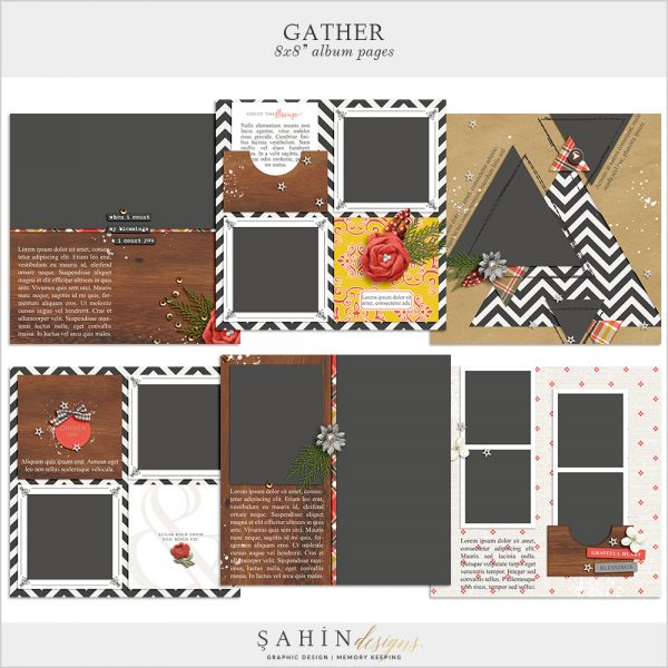 Gather Digital Scrapbook Album Pages by Sahin Designs. Click to download the kit. Pin & save for later!