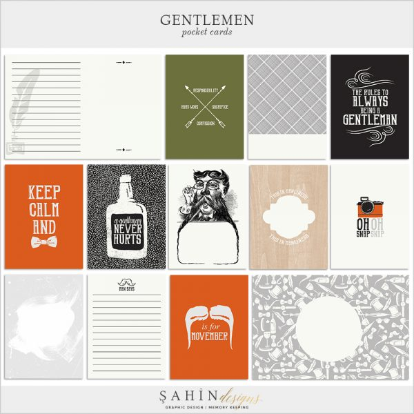 Gentleman Digital Scrapbook Pocket Cards by Sahin Designs. Click to download the kit. Pin & save for later!