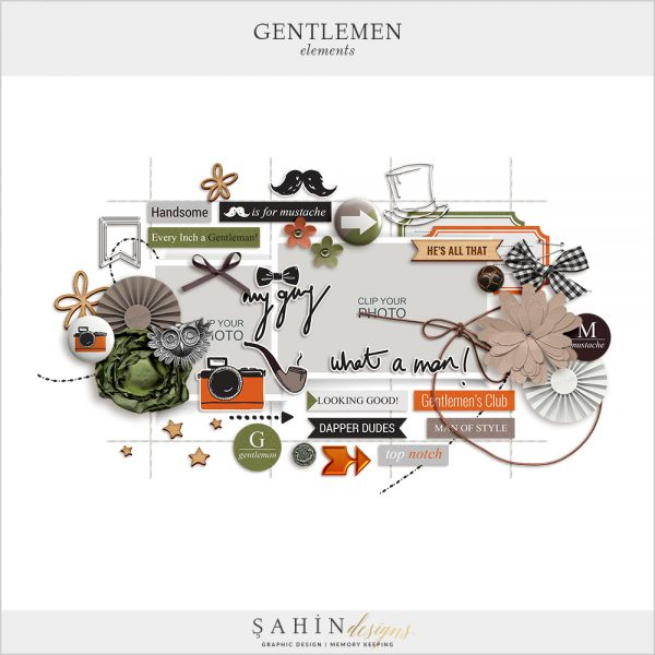 Gentleman Digital Scrapbook Elements by Sahin Designs. Click to download the kit. Pin & save for later!