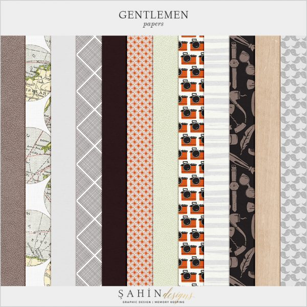 Gentleman Digital Scrapbook Papers by Sahin Designs. Click to download the kit. Pin & save for later!