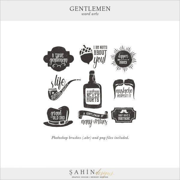 Gentleman Digital Scrapbook Word Arts by Sahin Designs. Click to download the kit. Pin & save for later!