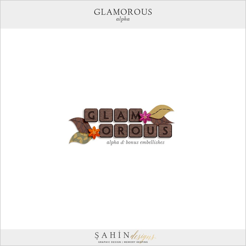 Glamorous Digital Scrapbook Alpha by Sahin Designs. Click to download the kit. Pin & save for later!