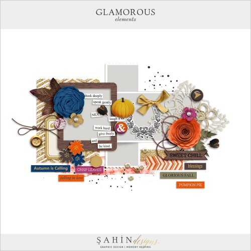 Glamorous Digital Scrapbook Elements by Sahin Designs. Click to download the kit. Pin & save for later!
