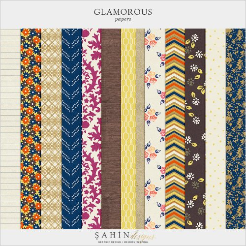 Glamorous Digital Scrapbook Papers by Sahin Designs. Click to download the kit. Pin & save for later!