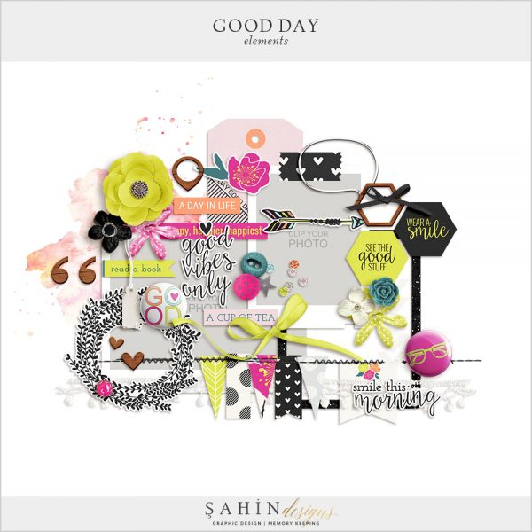 Good Day Digital Scrapbook Elements by Sahin Designs. Click to download the kit. Pin & save for later!