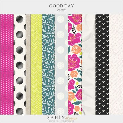 Good Day Digital Scrapbook Papers by Sahin Designs. Click to download the kit. Pin & save for later!
