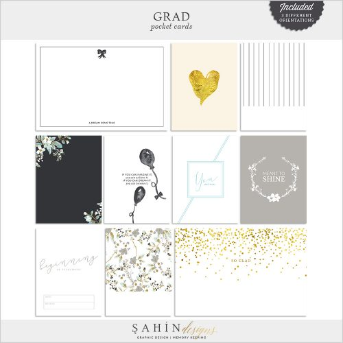 Grad Digital Scrapbook Pocket Cards by Sahin Designs. Click to download the kit. Pin & save for later!