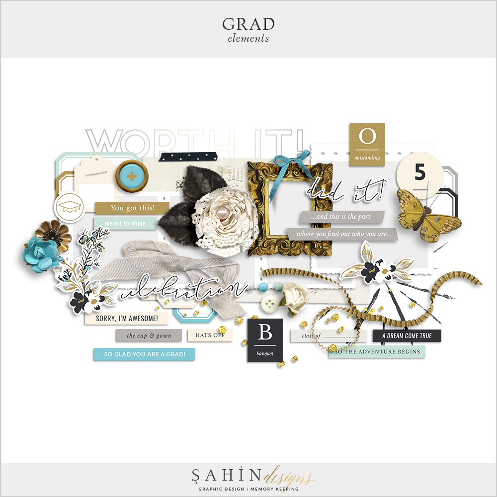 Grad Digital Scrapbook Elements by Sahin Designs. Click to download the kit. Pin & save for later!