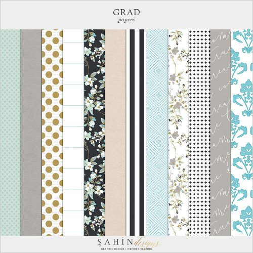 Grad Digital Scrapbook Papers by Sahin Designs. Click to download the kit. Pin & save for later!