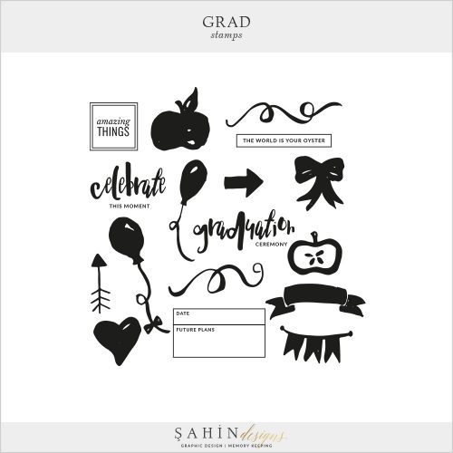 Grad Digital Scrapbook Stamps by Sahin Designs. Click to download the kit. Pin & save for later!
