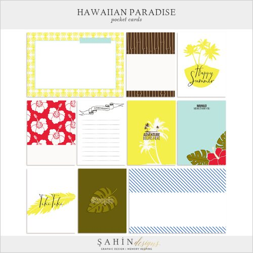Hawaiian Paradise Digital Scrapbook Pocket Cards by Sahin Designs. Click to download the kit. Pin & save for later!