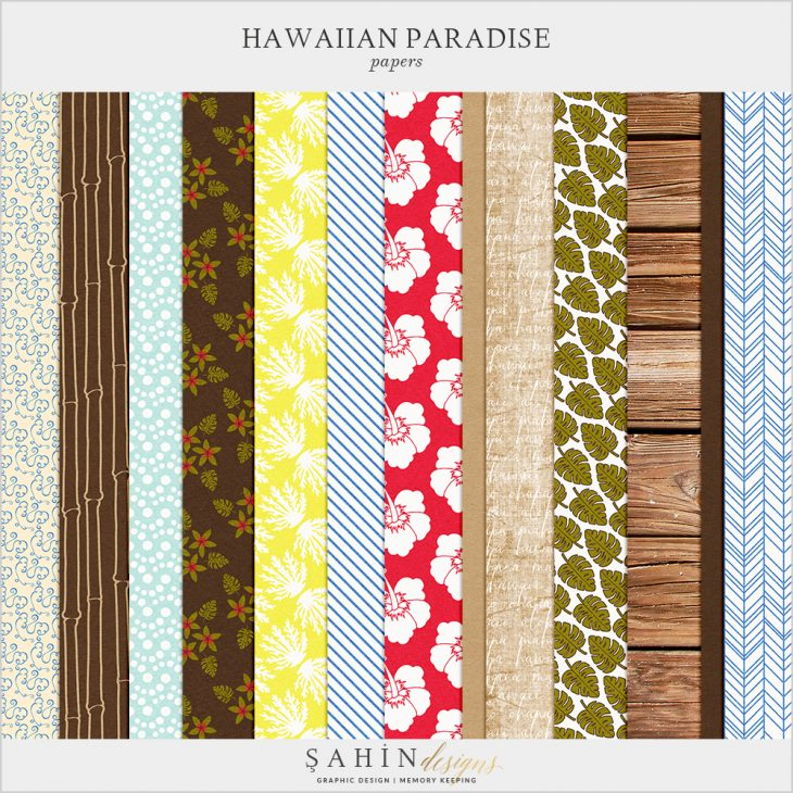 Hawaiian Paradise Digital Scrapbook Papers by Sahin Designs. Click to download the kit. Pin & save for later!