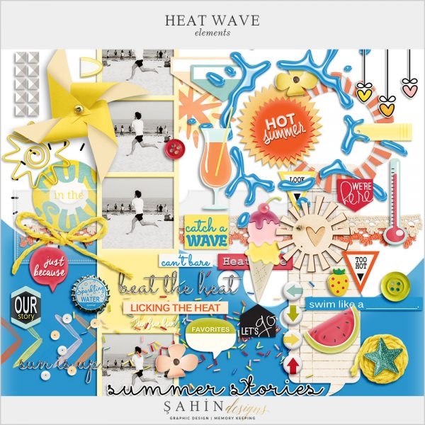 Heat Wave Digital Scrapbook Elements by Sahin Designs. Click to download the kit. Pin & save for later!