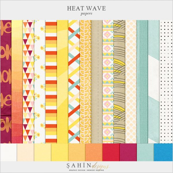 Heat Wave Digital Scrapbook Papers by Sahin Designs. Click to download the kit. Pin & save for later!