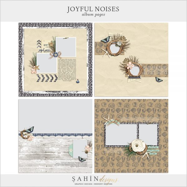 Joyful Noises Digital Scrapbook Album Pages by Sahin Designs. Click to download the kit. Pin & save for later!