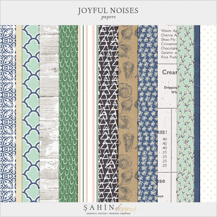 Joyful Noises Digital Scrapbook Papers by Sahin Designs. Click to download the kit. Pin & save for later!