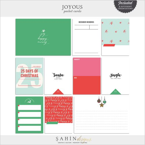 Joyous Digital Scrapbook Pocket Cards by Sahin Designs. Click to download the kit. Pin & save for later!