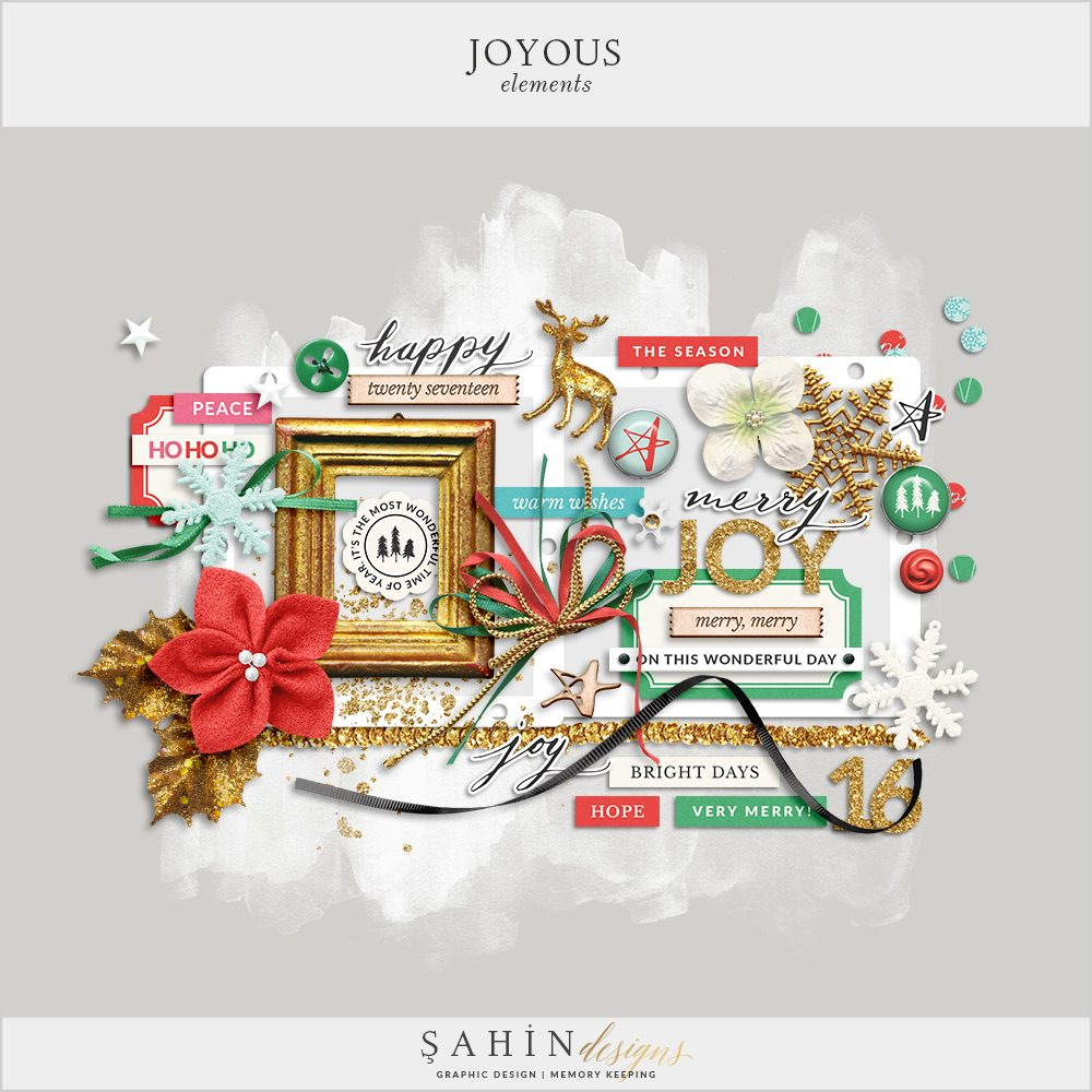 Joyous Digital Scrapbook Elements - Sahin Designs - Christmas Scrapbook Kit