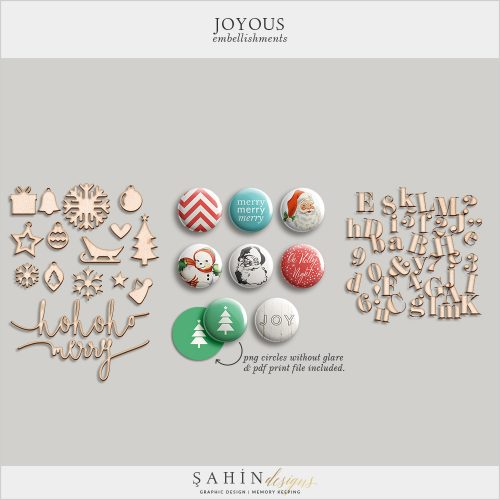 Joyous Digital Scrapbook Embellishments by Sahin Designs. Click to download the kit. Pin & save for later!