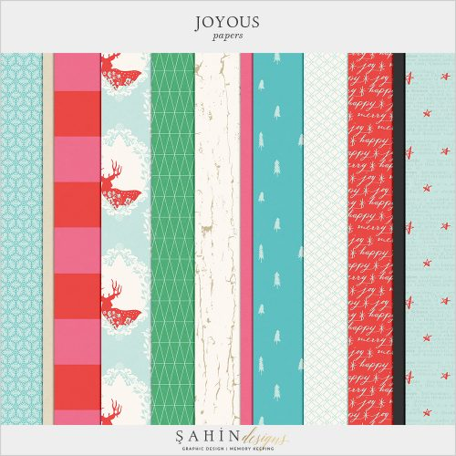 Joyous Digital Scrapbook Papers by Sahin Designs. Click to download the kit. Pin & save for later!