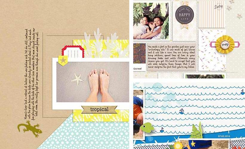 Digital scrapbook creative gallery for July 2016 on Sahin Designs. Click through to get some inspirations for your scrapbook page. Pin & save this image into your scrapbook idea board!