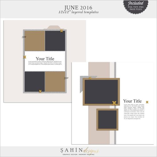 June 2016 Digital Scrapbook Layout Templates/Sketches by Sahin Designs. Click to download the kit. Pin & save for later!
