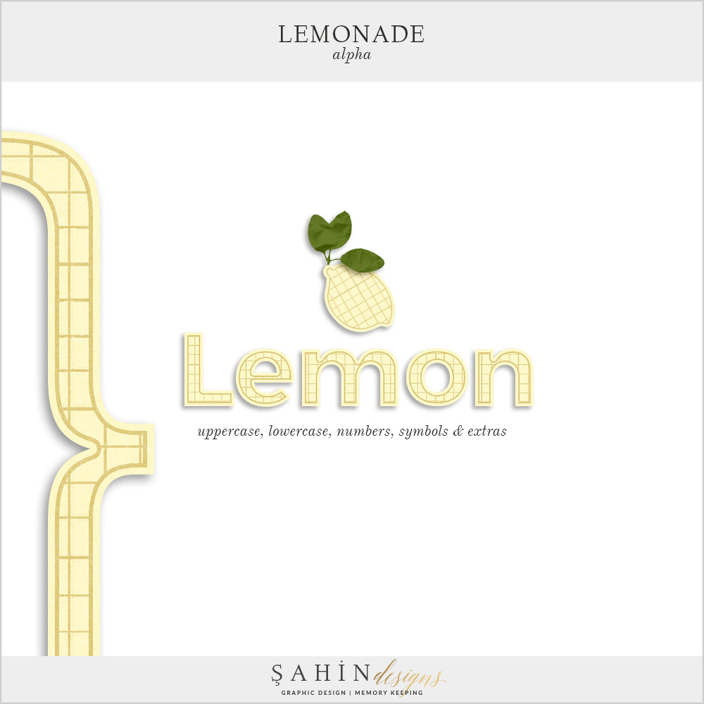 Lemonade Digital Scrapbook Alphas by Sahin Designs. Click to download the kit. Pin & save for later!