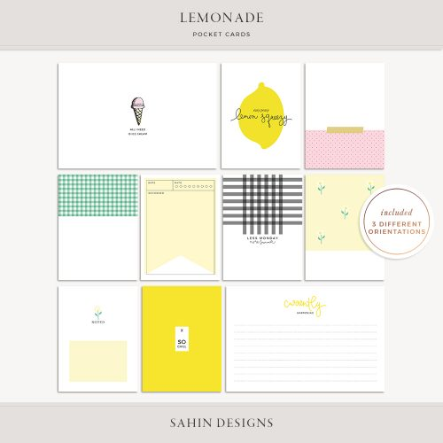 Lemonade Printable Pocket Cards - Sahin Designs